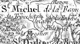 Détail de la carte de Cassini n°119 de 1765, montrant St-Michel et les communes voisines.