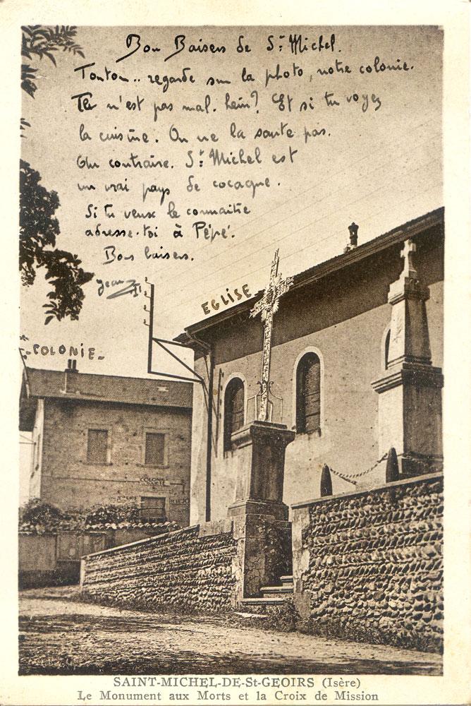 Carte postale d'un petit garçon en colonie à saint-Michel.  Saint-Marcellin, 8 août 1943.