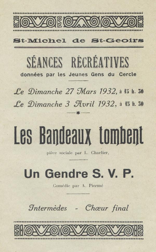 séances récréatives, St-Michel-de-St-Geoirs