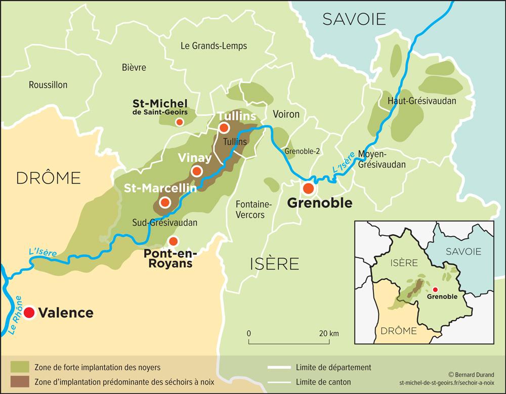 Carte séchoirs à noix en Dauphiné. Vinay, Tullins, Saint-Marcellin